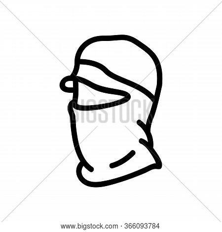Hat Balaclava Icon Vector. Hat Balaclava Sign. Isolated Contour Symbol Illustration
