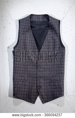 Men's Waistcoat Isolated On White Background. Gray.