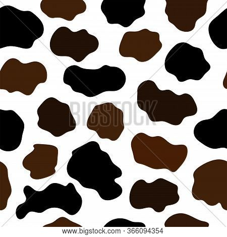 Seamless Abstract Pattern With Cowhide Imitation. Animal Print. Flat Vector Illustration.