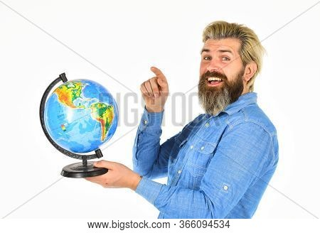 Agile Business. Back To School. Mature Geographic Teacher. Travel And Vacation. World Wide Network.