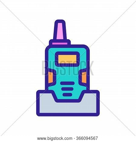 Walkie Talkie With Holder Icon Vector. Walkie Talkie With Holder Sign. Color Symbol Illustration