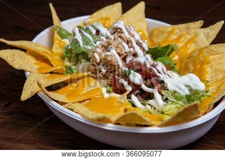 Corn Chips Nachos With Meat.