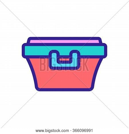 Food Container With Latch Handle Icon Vector. Food Container With Latch Handle Sign. Color Symbol Il
