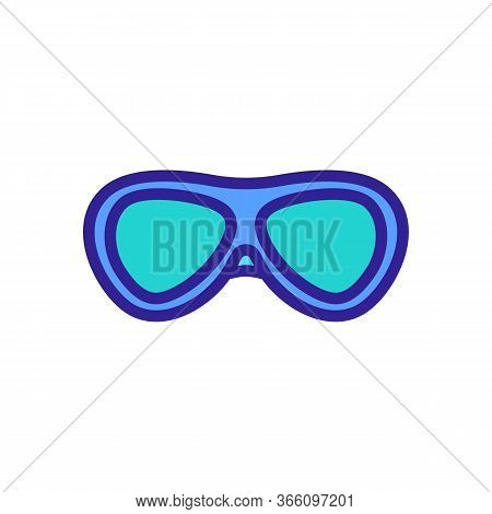 Oval Swimming Training Glasses Icon Vector. Oval Swimming Training Glasses Sign. Color Symbol Illust