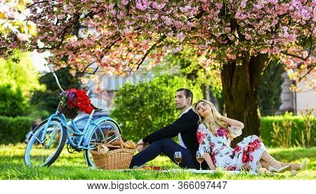 Spring Weekend. Romantic Picnic With Wine. Give Uncommon, Unique Gifts Spontaneously. Happy Loving C