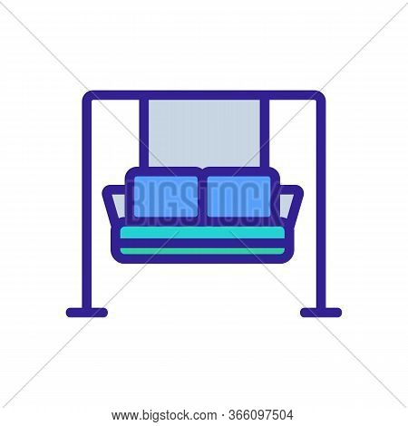 Hanging Sofa With Pillows Icon Vector. Hanging Sofa With Pillows Sign. Color Symbol Illustration