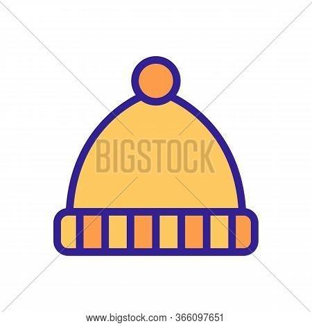 Hat With Pompom With Horizontal Lapel Stripes Icon Vector. Hat With Pompom With Horizontal Lapel Str