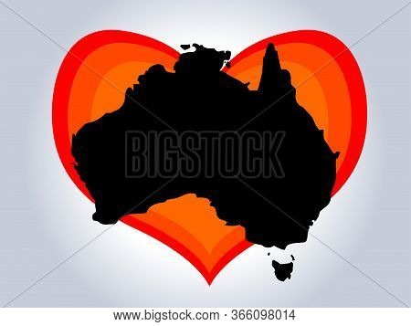 Save Australia Vector Illustration. Australia Continent Black Silhouette With Red Gradient Heart On