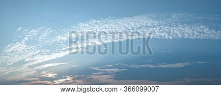 Panorama Sky With White Clouds Strange White Blue Clear And A Copy Space For Background