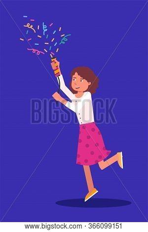 Happy Smiling Little Girl Character Holding Shooting Slapstick Cracker In Hands. Child Standing On B