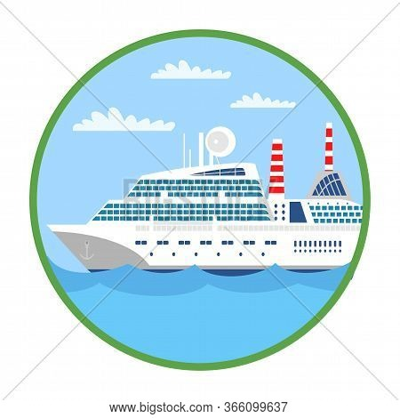 Passenger Liner Flat Vector Illustration. Water Carriage, Transport Type. Seascape In Green Circle F