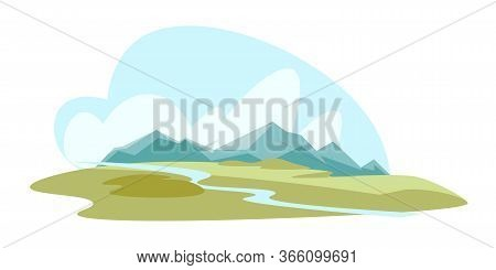 Mountains And Valley Flat Vector Illustration. Meadow, Green Grass Field And River Composition. Wild