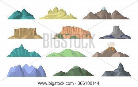 Cartoon Mountains Flat Vector Elements. Mountain Peak, Hill Top And Volcano Patterns Illustration Se