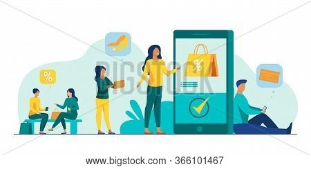 Customers With Smartphones Shopping Online. Men And Women Buying Goods At Internet Store Sales. Vect