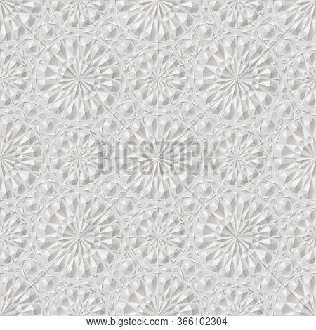 Stock Vector Illustration Eastern White Embossed Pattern