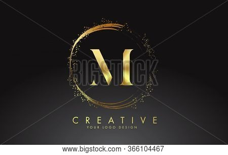 M Golden Letter Logo With Golden Sparkling Rings And Dust Glitter On A Black Background. Luxury Deco