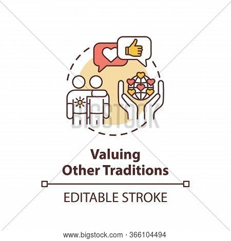 Valuing Other Tradition Concept Icon. Multinational Communication. Interracial Companionship. Cultur