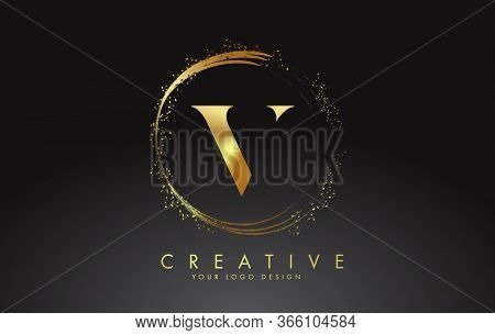 V Golden Letter Logo With Golden Sparkling Rings And Dust Glitter On A Black Background. Luxury Deco