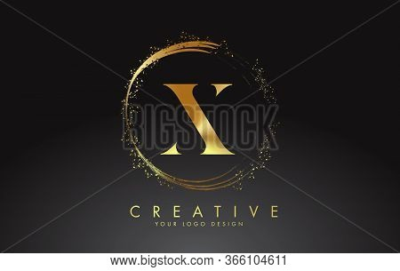 X Golden Letter Logo With Golden Sparkling Rings And Dust Glitter On A Black Background. Luxury Deco