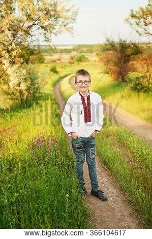 Ukraine's Independence Day. Child Boy In An Embroidered Shirt In Field. Ukraine In Field. Child Koza