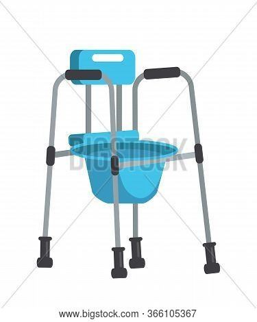 Cartoon Disabled Item And Rehabilitation Device Isolated On White. Support And Tactile Canes, Crutch