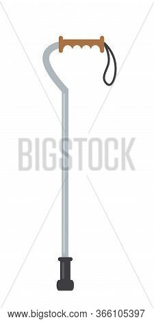 Cartoon Flat Pair Of Quad Cane Isolated On White. Mobility Aids For Rehabilitation After Injury. Med