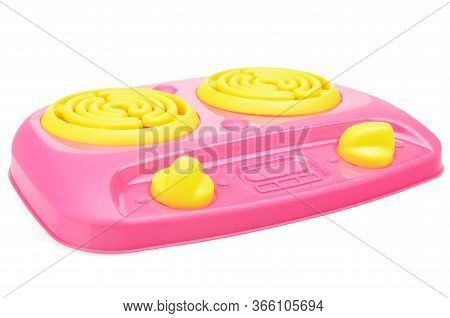 Childrens Pink Plastic Cooker For Cooking On A White Background. Childrens Toy Kitchen For Girls. Th