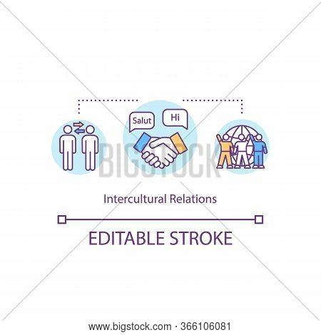 Intercultural Relation Concept Icon. Multiracial Exchange. International Cooperation. Cultural Diver