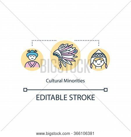 Cultural Minorities Concept Icon. Multi Ethnic Society. Multi Racial Colonial Group. Multicultural E