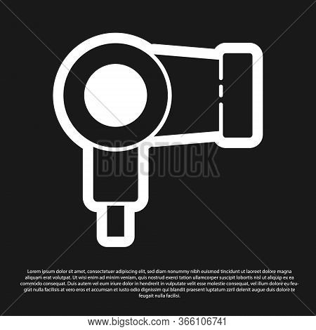 Black Hair Dryer Icon Isolated On Black Background. Hairdryer Sign. Hair Drying Symbol. Blowing Hot