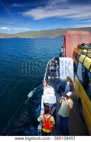 OLKHON ISLAND, 27 AUGUST, 2019: Passengers waiting the Ferry boat to Olkhon Island, Baikal Lake, Siberia, Russia