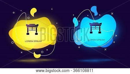 Black Japan Gate Icon Isolated On Black Background. Torii Gate Sign. Japanese Traditional Classic Ga
