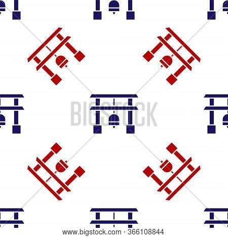 Blue And Red Japan Gate Icon Isolated Seamless Pattern On White Background. Torii Gate Sign. Japanes