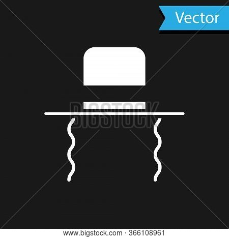 White Orthodox Jewish Hat With Sidelocks Icon Isolated On Black Background. Jewish Men In The Tradit
