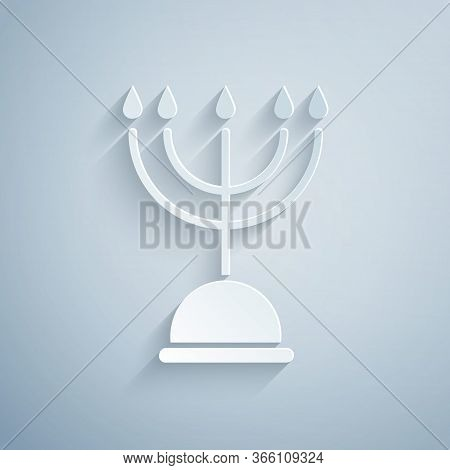 Paper Cut Hanukkah Menorah Icon Isolated On Grey Background. Hanukkah Traditional Symbol. Holiday Re