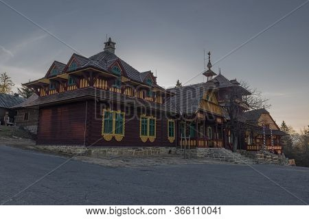 Old Wooden Buidlings In Pustevny On Hill In Beskydy Mountains