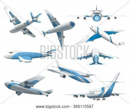 Airplanes On White Background. Airliner In Top, Side, Front View And Isometric. Vector Realistic Air