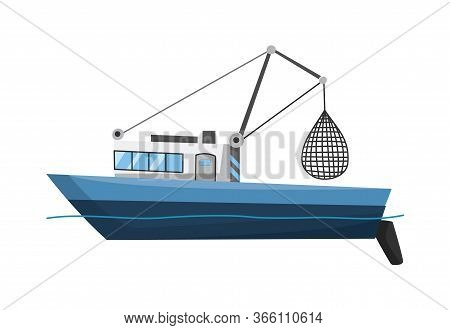 Fishing Boat Side View. Commercial Fishing Trawler For Industrial Seafood Production. Marine Ship, S