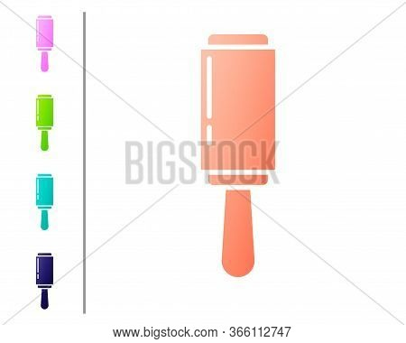 Coral Adhesive Roller For Cleaning Clothes Icon Isolated On White Background. Getting Rid Of Debris,