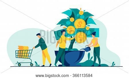 People Growing Money Tree. Investors Watering Plant With Cash, Getting Revenue. Vector Illustration
