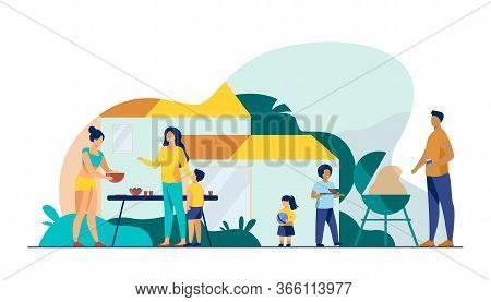 Family On Bbq Party On Backyard Flat Vector Illustration. Happy Characters Cooking, Chatting And Eat