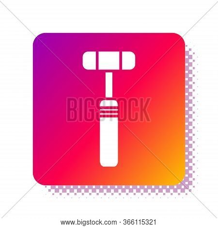White Neurology Reflex Hammer Icon Isolated On White Background. Square Color Button. Vector