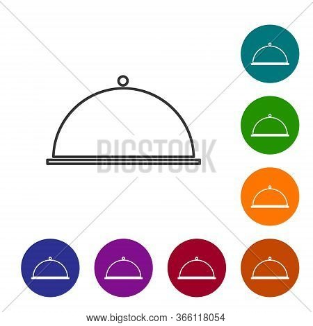 Black Line Covered With A Tray Of Food Icon Isolated On White Background. Tray And Lid. Restaurant C