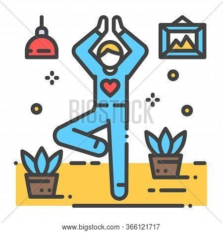 Faceless Person Stands In Tree Pose Vrikshasana Color Line Icon. Yoga Pose. Asana. Home Leisure. Vec