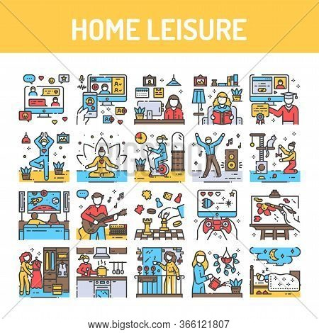 Home Leisure Color Line Icon. Homework And Hobby: Dancing, Cleaning, Cooking, Yoga, E-learning. Vect