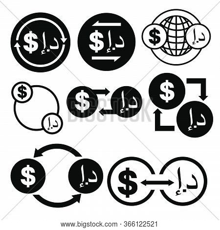Black And White Money Convert Icon From Dollar To Dirham Vector Bundle Set