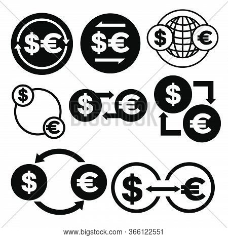 Black And White Money Convert Icon From Dollar To Euro Vector Bundle Set