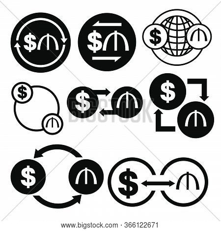 Black And White Money Convert Icon From Dollar To Manat Vector Bundle Set