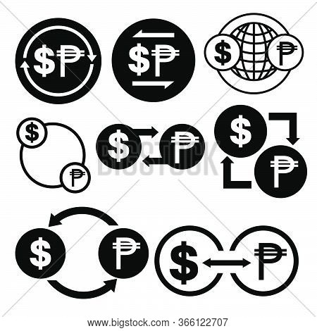 Black And White Money Convert Icon From Dollar To Peso Vector Bundle Set
