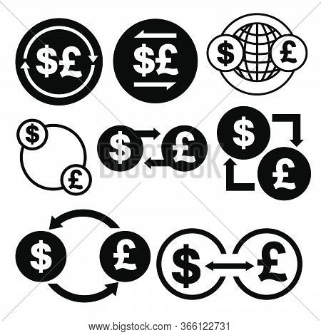 Black And White Money Convert Icon From Dollar To Pound Vector Bundle Set